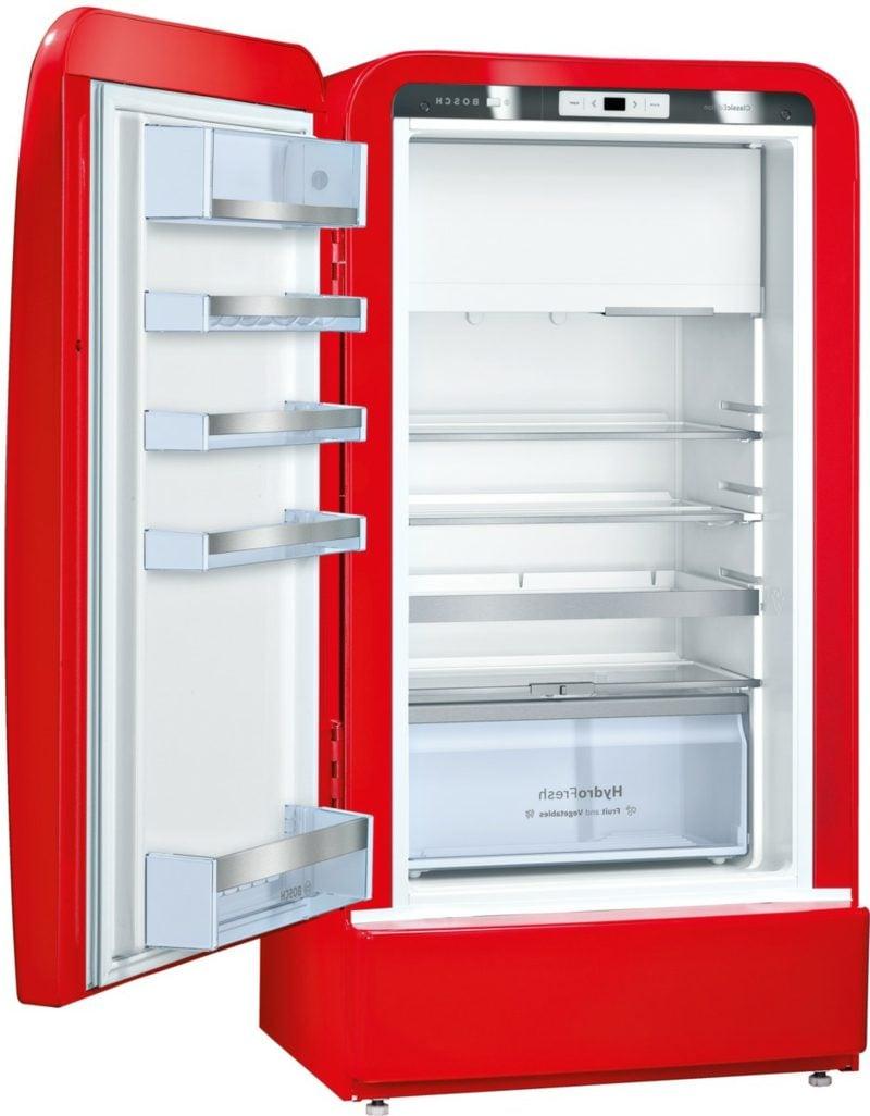 Bosch Retro Kühlschrank rot modern Innenraum