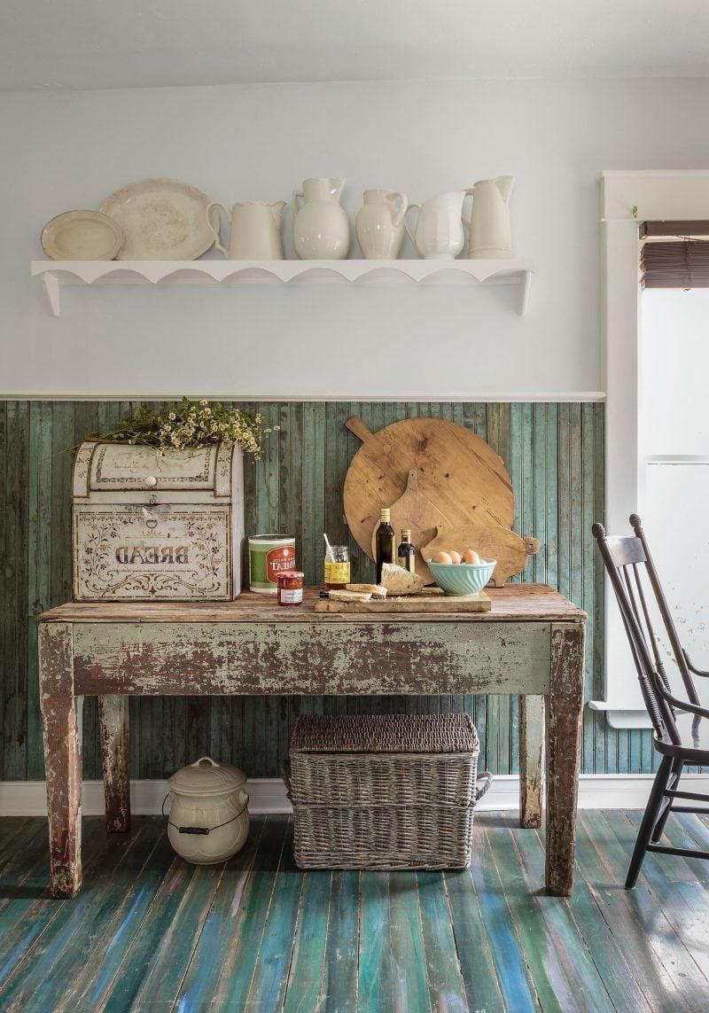 Landhaus möbel weiß braun rustikale möbel landhausstil tisch holz küche einrichten