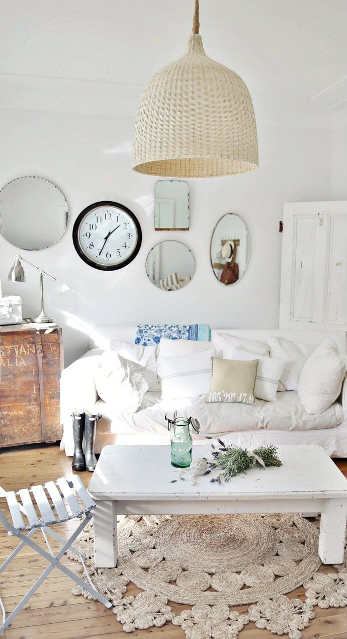 Landhausstil möbel weiß tisch holz sofa design wohnzimmer einrichten dekoideen