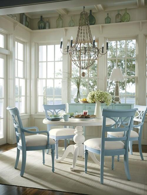 Lanfhausstil möbel weiß blau kombination esszimmer dekoration ideen esstisch