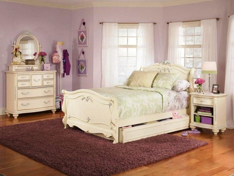Möbel Landhausstil weiß Kinderzimmer Bett Holz Kissen Wandgestaltung beste ideen Einrichtung