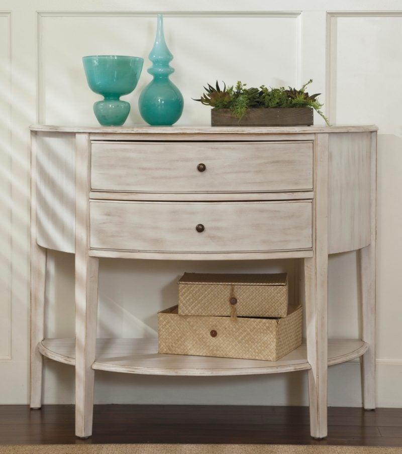 Möbel Landhausstil weiß Konsolentisch weiß braun kombination dekoideen accessoires