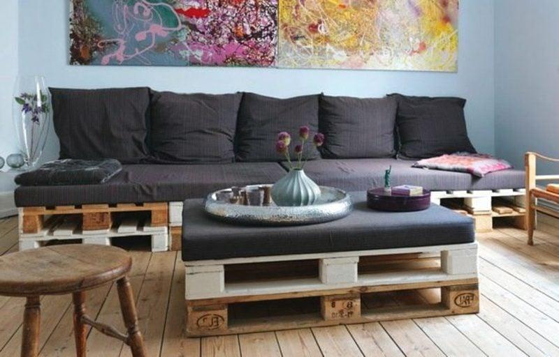 Sofa und Couchtisch aus Europaletten kreative DIY Ideen