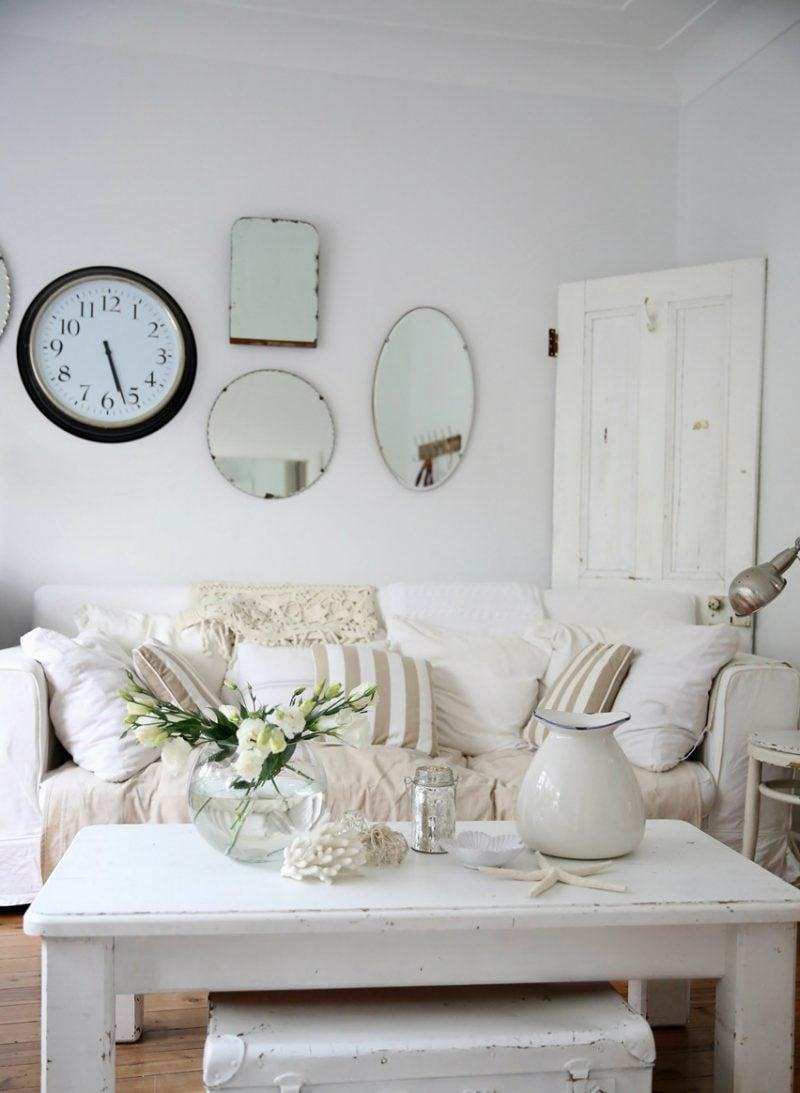 Möbel landhausstil weiß tisch holz wohnzimmer einrichten wohnaccessoires dekoideen weiße landhausmöbel