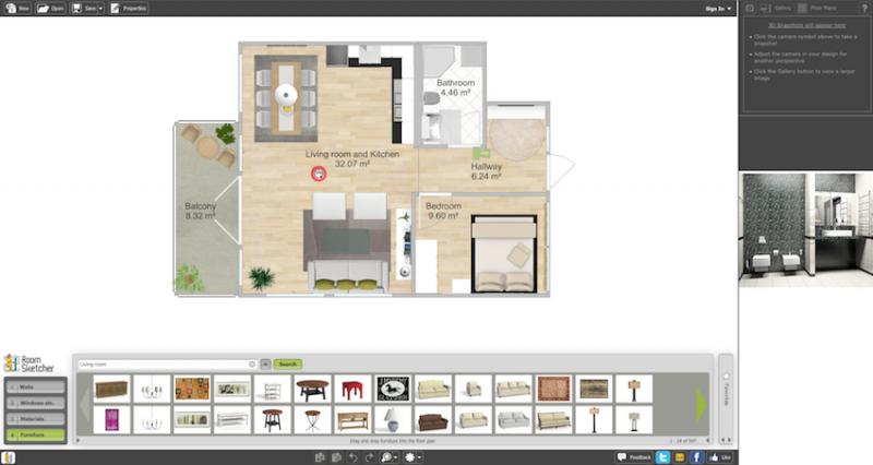 Raumgestalter RoomSketcher Interface Haus Schema
