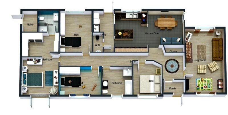 Raumgestalter online 3D kostenlos Roomsketcher Interface