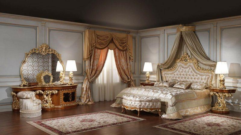 prunkvolles Schlafzimmer einrichten Barock Stil