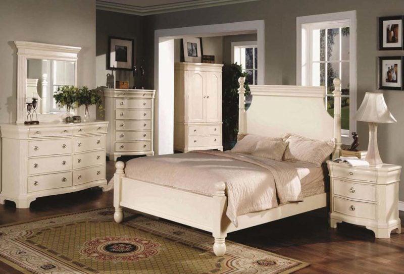 Schlafzimmer einrichten möbel landhaus weiß design innendesign ideen bett holz schrank nachttisch