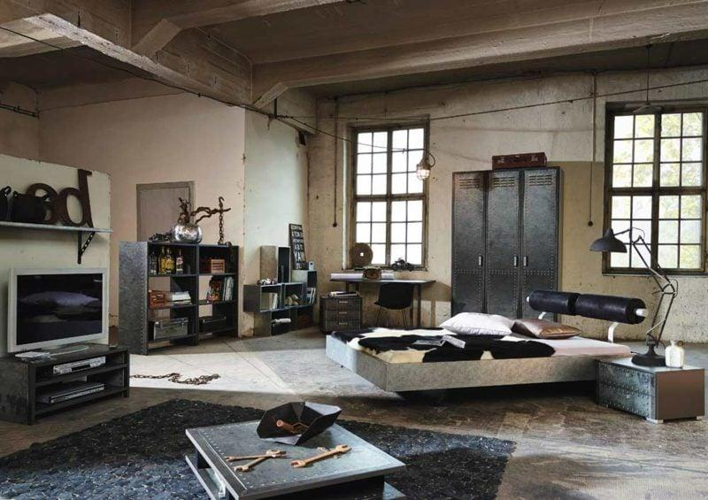 Schlafzimmer einrichten moderne Ideen industrieller Stil