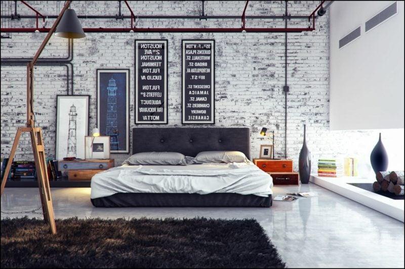 Schlafzimmer einrichten industriell urban Flair