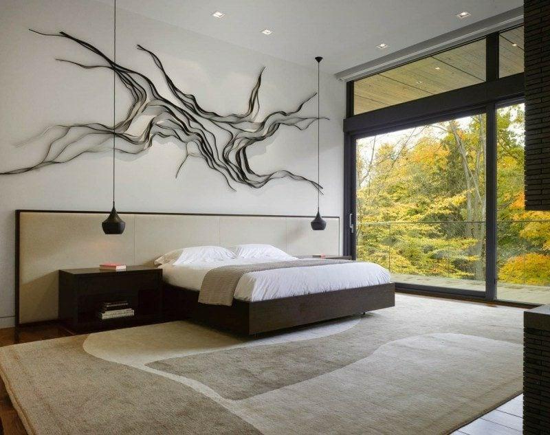 Schlafzimmer einrichten minimalistisch originelle Wanddeko