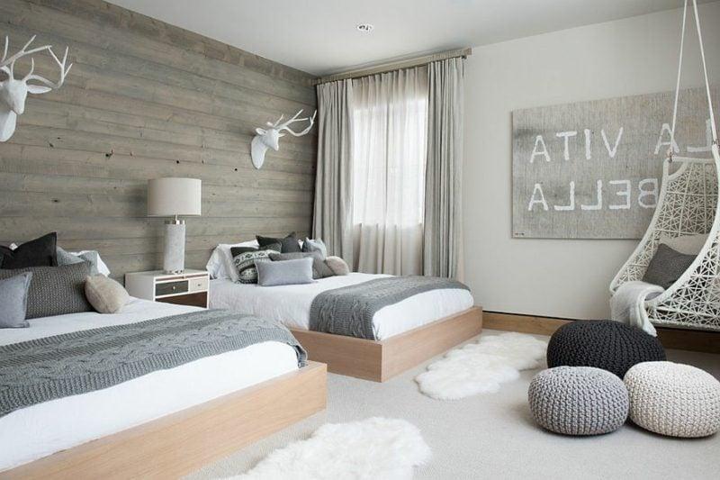 Schlafzimmer einrichten skandinavischer Stil zwei Betten