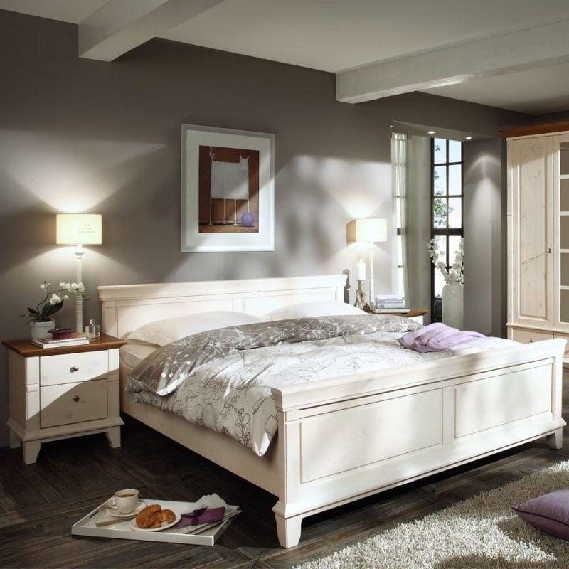 Skandinavischer landhausstil möbel holzbett schlafzimmer einrichten design landhaus möbel