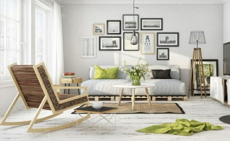 Palettensofa Wohnzimmer skandinavischer Stil