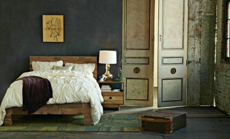 Vintage Schlafzimmer Europaletten Bett herrlicher Look