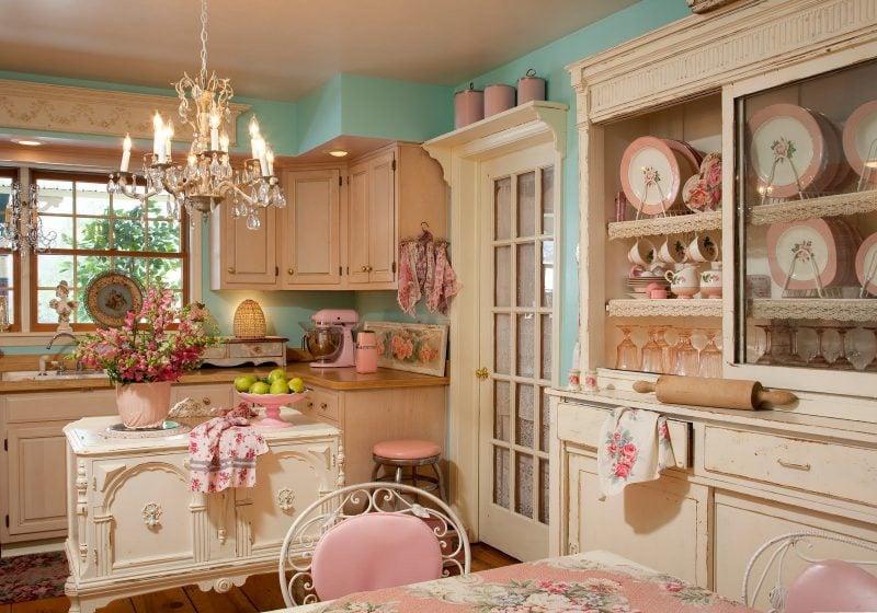 Weiß Möbel Landhausstil Dekoideen Esstisch Stuhl Regal Küche Einrichtung