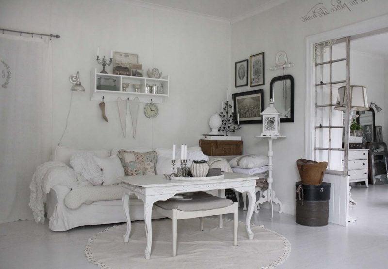 Weiß Möbel Landhausstil Sofa Tisch Holz Wohnzimmer einrichten eleganz
