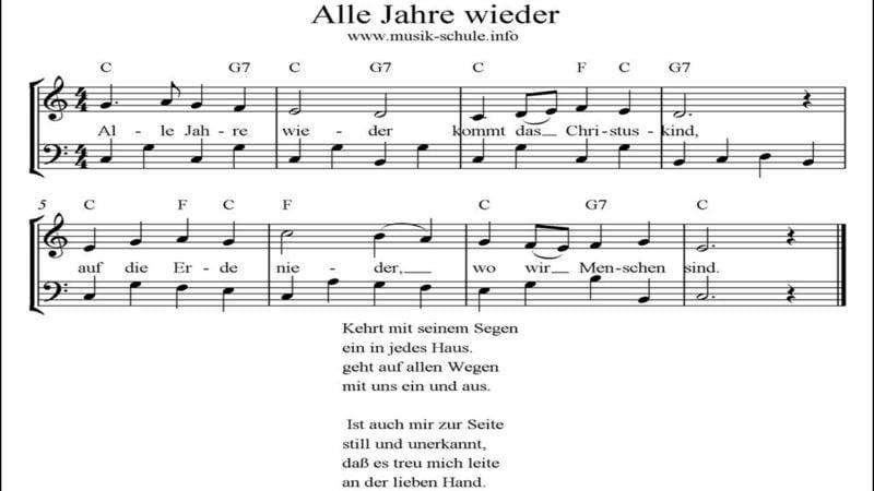 traditionelle deutsche Weihnachtslieder Alle Jahre wieder Noten