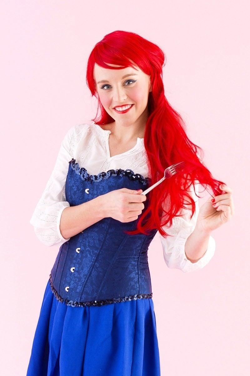 ariel kostüm karneval ideen fasching verkleidung coole accessoires altweiber kostüm
