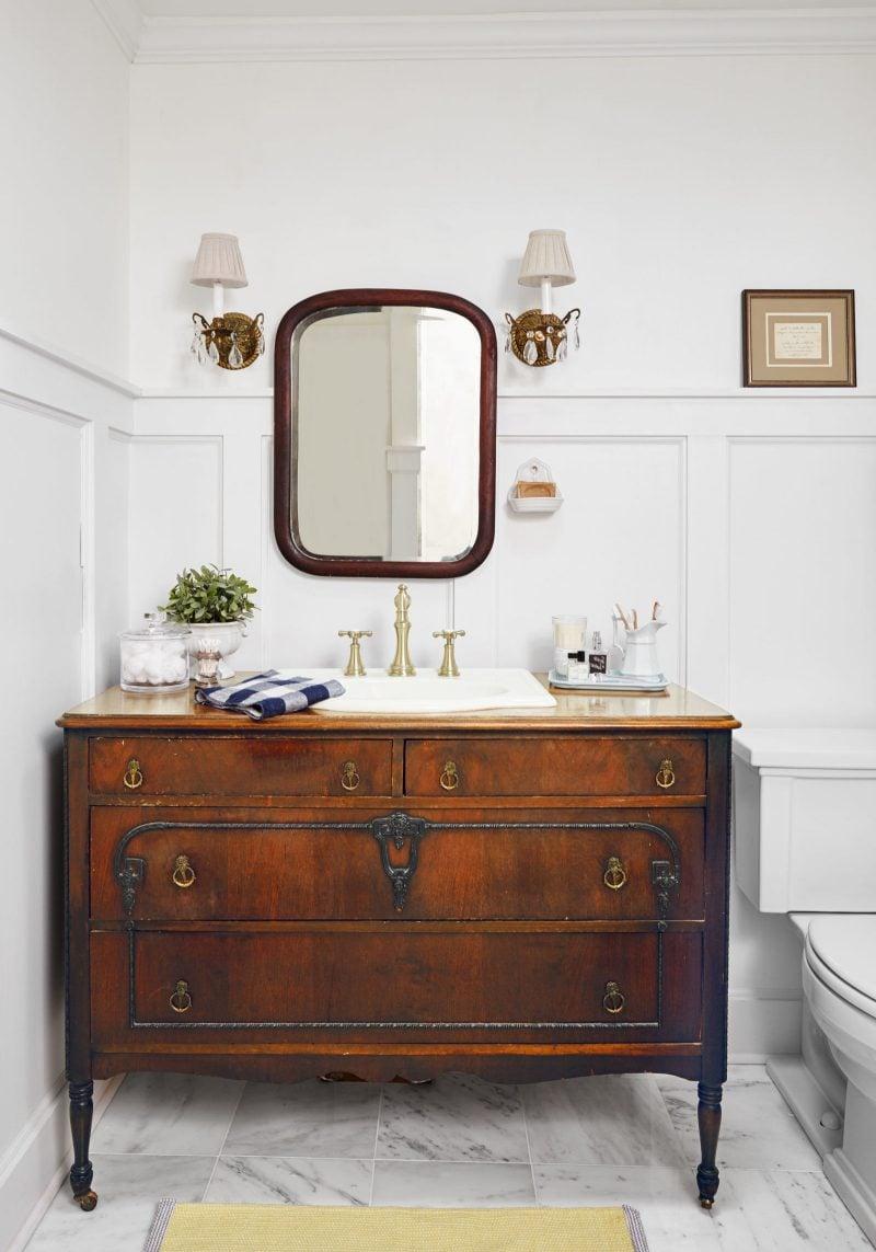 badezimmer ideen upcycle möbel kommode braun