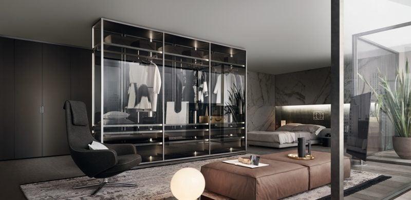 begehbarer kleiderschrank schlafzimmer glastüren kleiderständer licht stuhl modern einrichten