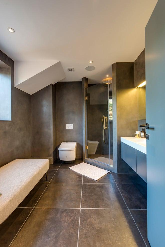 Beton Cire Fliesen im Badezimmer