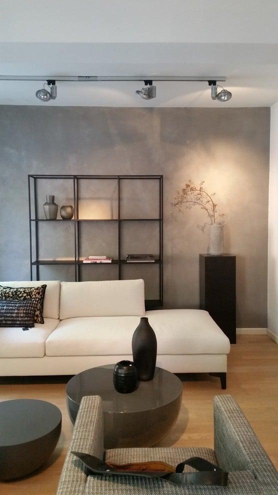 Betonoptik im Wohnzimmer - die moderne Beton Cire Wandgestaltung