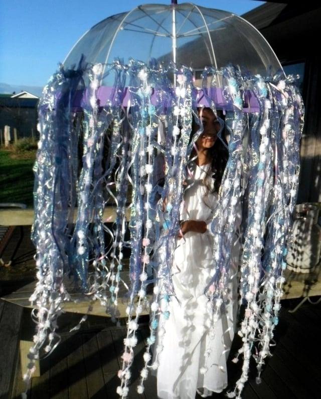 coole faschingskostüme frauen coole accessoires regenschirm weiß verkleidung