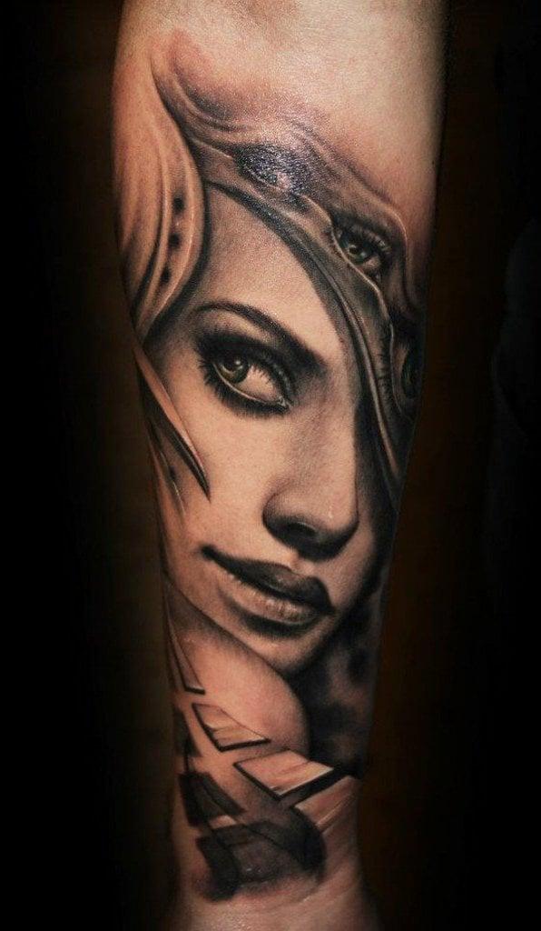 coole tattoo ideen arm porträt tattoo motive frauen männer