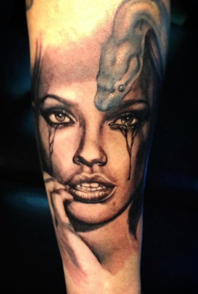 coole tattoo ideen gesicht tier arm porträt tattoo motive frauen und männer