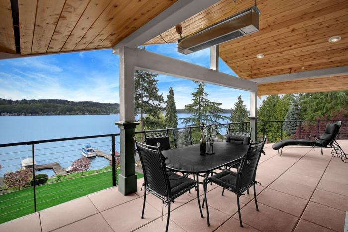 terrassenheizung dachheizung ideen design licht warm