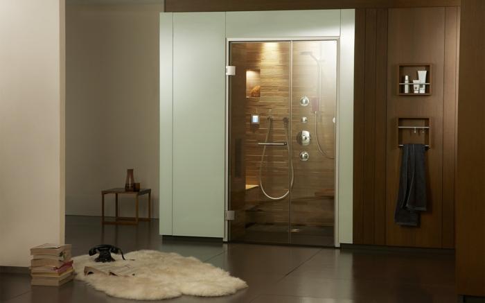 dampfdusche-in-dem-eigenen-zuhause-gemuetlichkeit-buecher-und-pelzteppich-im-bad