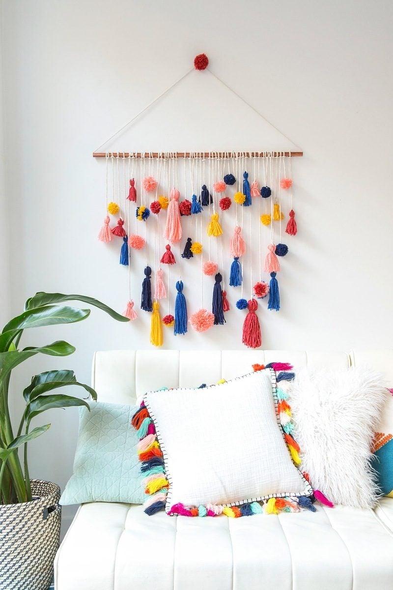 diy deko ideen wandgestaltung kissen zimmerpflanzen