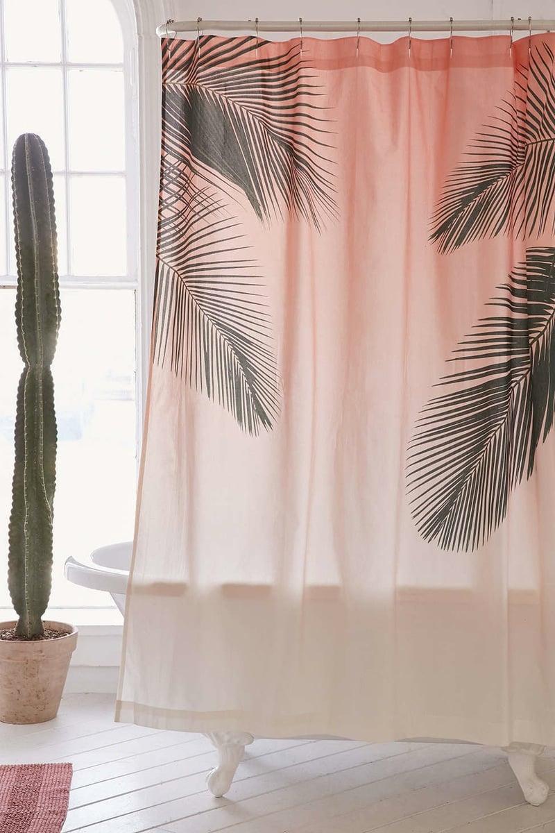 dusche vorhang rosa palmen dekoideen kaktus blumen modernes bad ideen