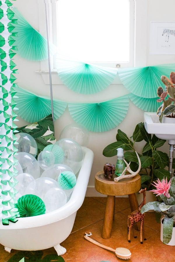 exotik badezimer ideen grün badewanne