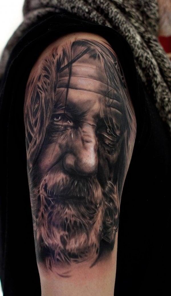 fantastische tattoo ideen porträt tattoos männer