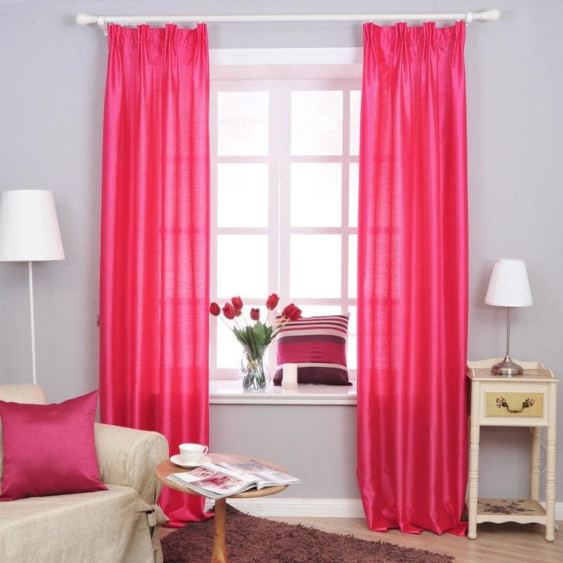 gardinen rot fenstergestaltung deko ideen dekokissen