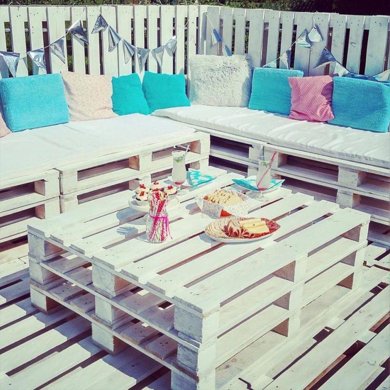 gartenmöbel aus paletten weiß tisch aus paletten sofa couch aus paletten