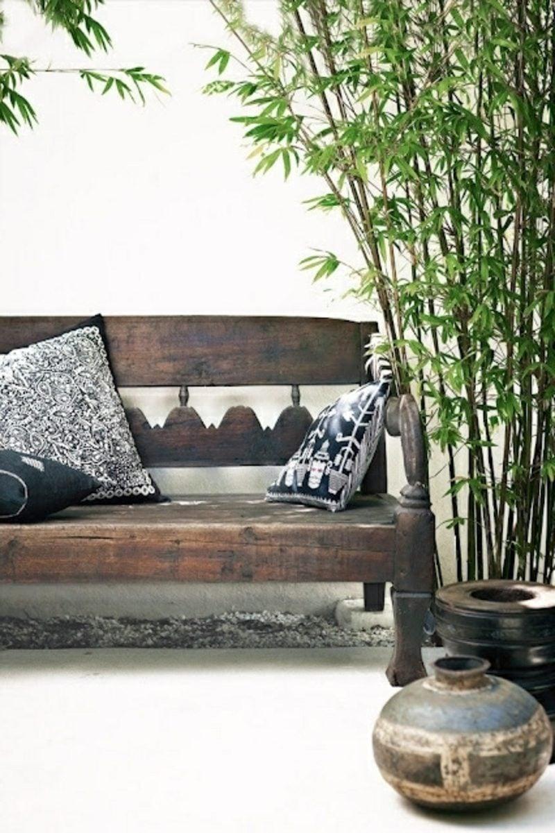 gartenmöbel rustikal gartenbank teakholz