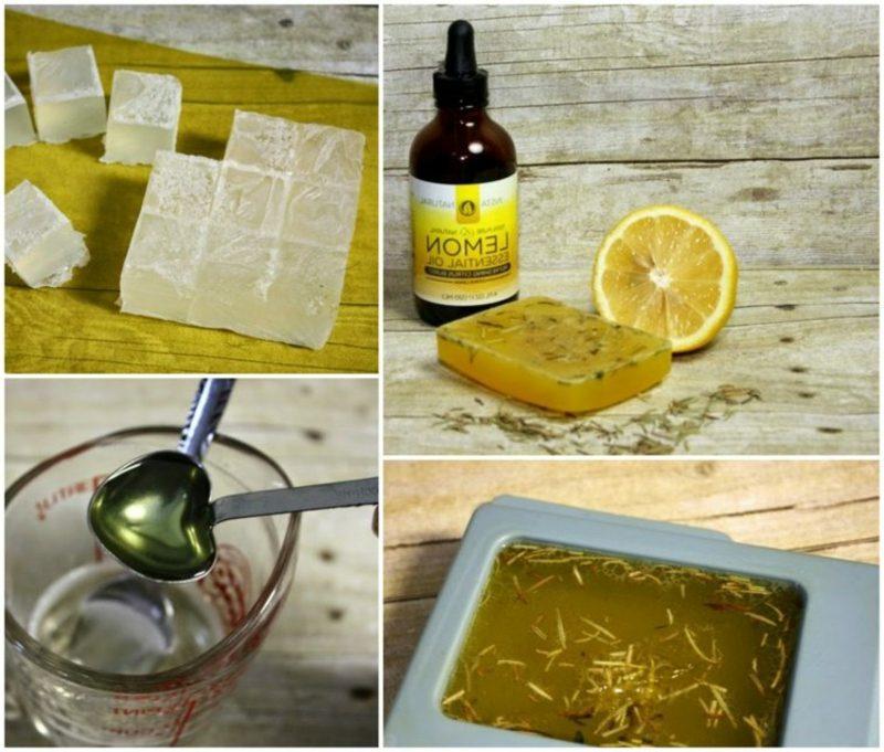 DIY gelbe Seife mit Zitrone, Glycerin und Rosmarin