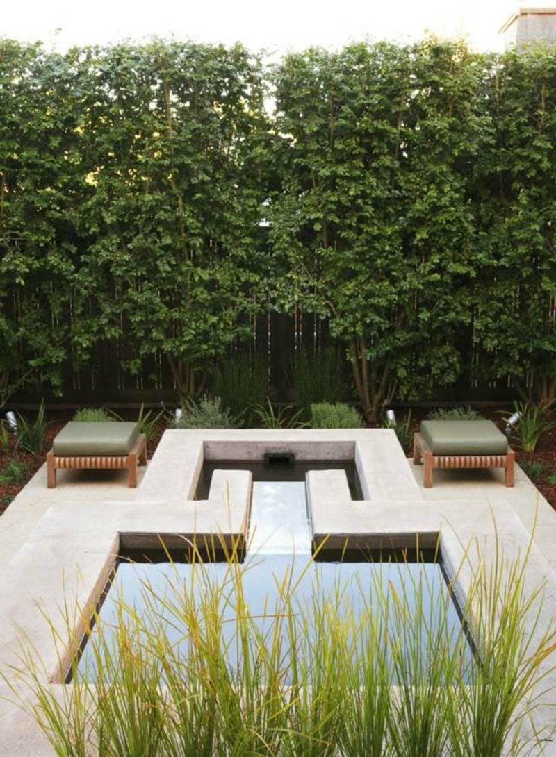Gartengestaltung Ideen Teich geometrisch interessanter Look