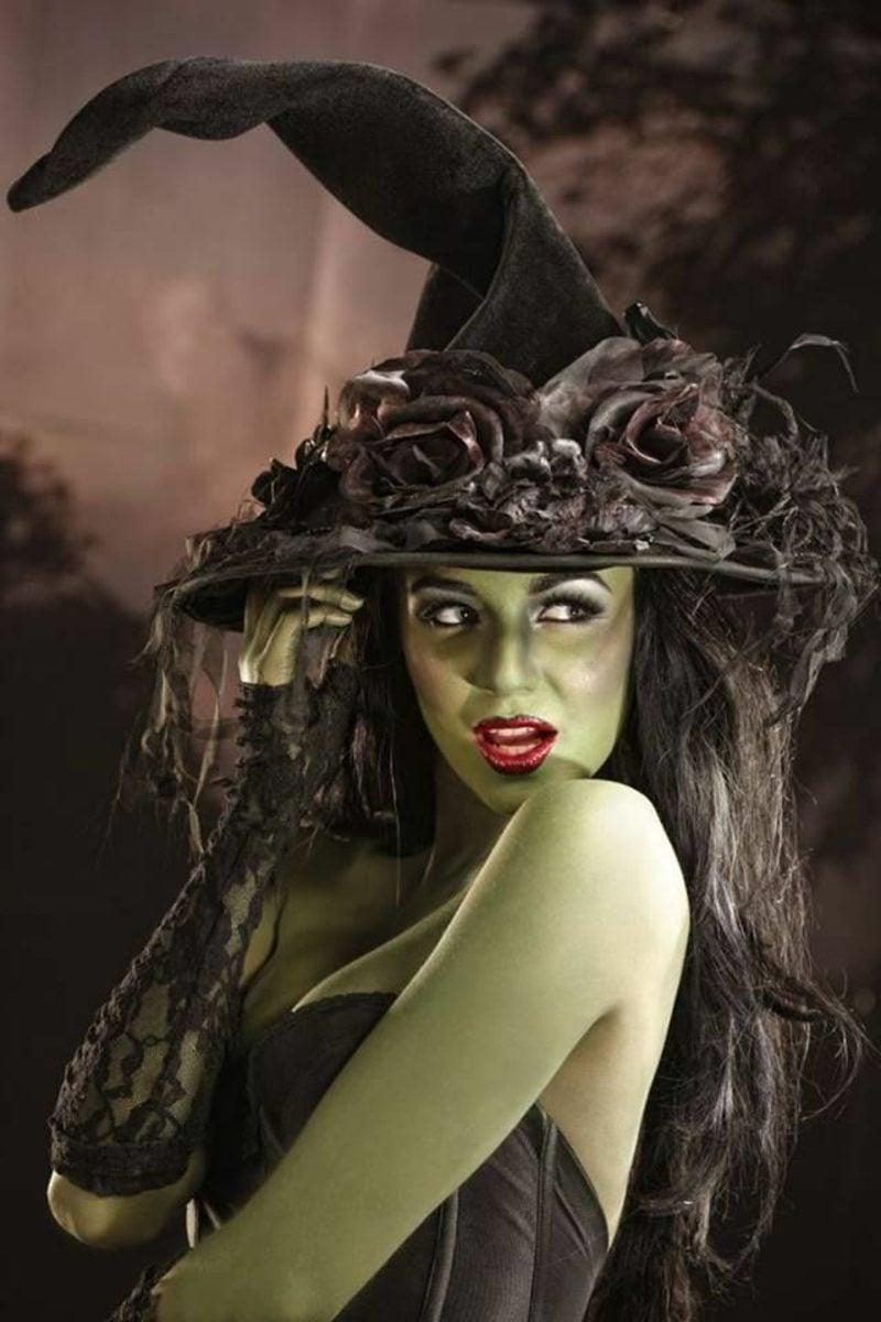 Halloween Kostüme Hexe grüne Haut