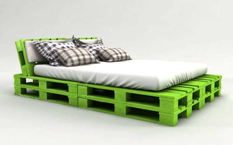 Europaletten Bett selber bauen modern und praktisch