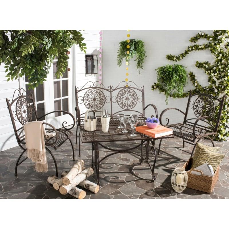 hochwertige rustikale gartenmöbel sitzgruppe kollektion tisch stuhl eisern gartengestaltung ideen