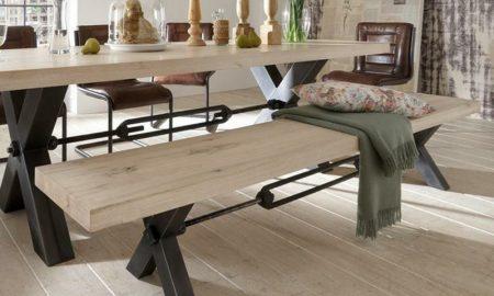 industrial-möbel-Sitzbank-Esstisch-Stahl