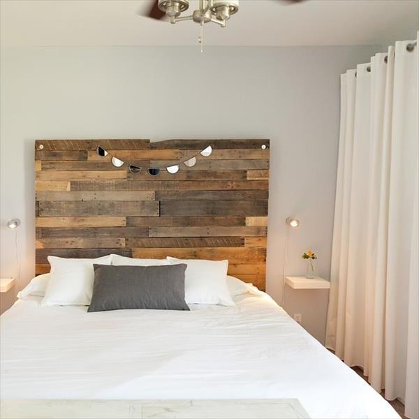 kopfbrett aus paletten selber bauen schlafzimmer einrichten palettenmöbel