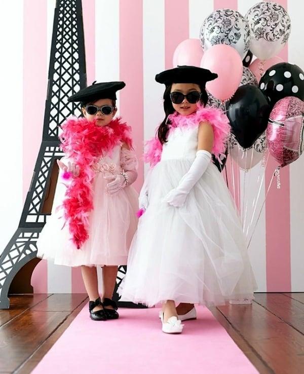 kreative ideen fasching verkleidung kinder coole accessoires brille hut kleider rosa