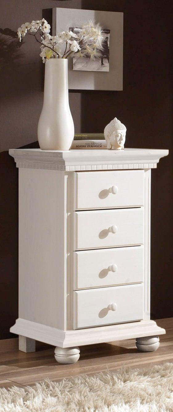 landhausstil möbel kommode weiß holz fichte design wohnideen einrichten accessoires dekoration vase