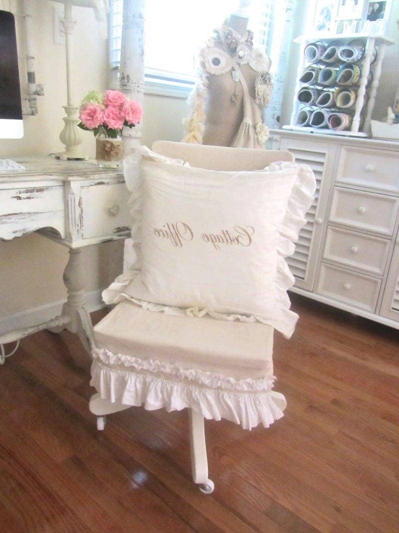 landhausstil möbel weiß bürotisch holz holzstuhlkissen dekoideen