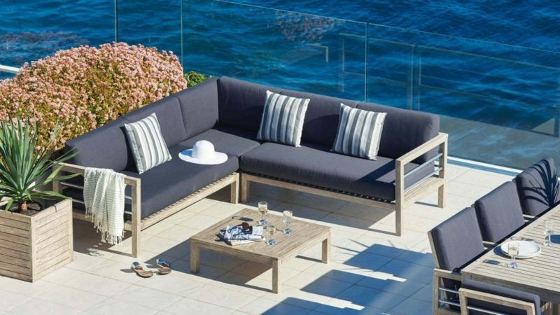 loungemöbel outdoor set in blau